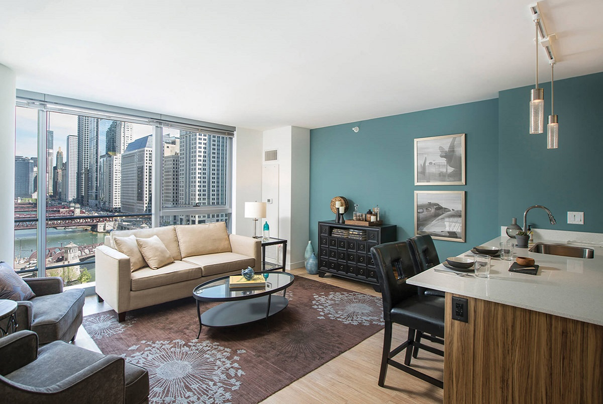 Living room setup with rental furniture from Brook Furniture Rental at Wolf Point West